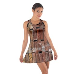 Wood Logs Wooden Background Cotton Racerback Dress