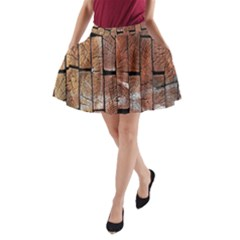 Wood Logs Wooden Background A-Line Pocket Skirt