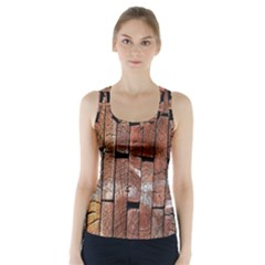 Wood Logs Wooden Background Racer Back Sports Top