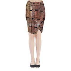 Wood Logs Wooden Background Midi Wrap Pencil Skirt