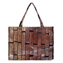 Wood Logs Wooden Background Medium Tote Bag