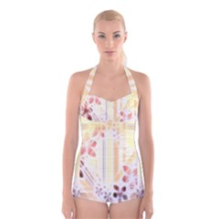 Swirl Flower Curlicue Greeting Card Boyleg Halter Swimsuit