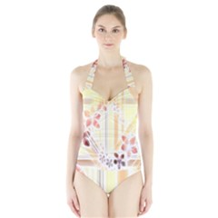 Swirl Flower Curlicue Greeting Card Halter Swimsuit