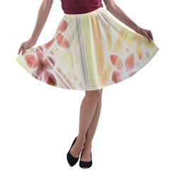 Swirl Flower Curlicue Greeting Card A Line Skater Skirt