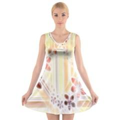 Swirl Flower Curlicue Greeting Card V-Neck Sleeveless Skater Dress