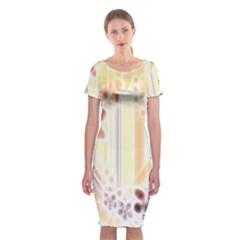 Swirl Flower Curlicue Greeting Card Classic Short Sleeve Midi Dress