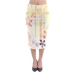 Swirl Flower Curlicue Greeting Card Midi Pencil Skirt