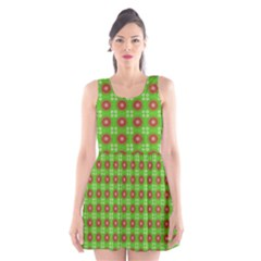 Wrapping Paper Christmas Paper Scoop Neck Skater Dress