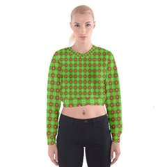 Wrapping Paper Christmas Paper Women s Cropped Sweatshirt