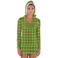 Wrapping Paper Christmas Paper Women s Long Sleeve Hooded T Shirt