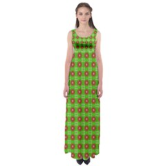Wrapping Paper Christmas Paper Empire Waist Maxi Dress