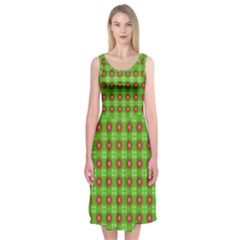 Wrapping Paper Christmas Paper Midi Sleeveless Dress