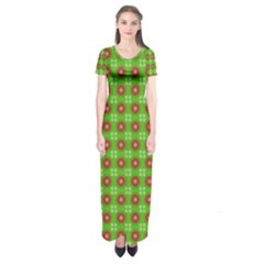 Wrapping Paper Christmas Paper Short Sleeve Maxi Dress