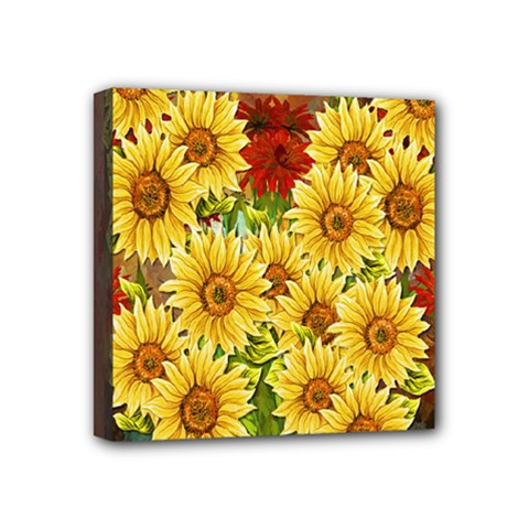Sunflowers Flowers Abstract Mini Canvas 4  x 4