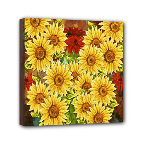 Sunflowers Flowers Abstract Mini Canvas 6  x 6
