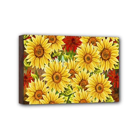 Sunflowers Flowers Abstract Mini Canvas 6  x 4