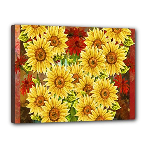 Sunflowers Flowers Abstract Canvas 16  X 12