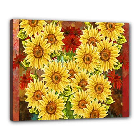 Sunflowers Flowers Abstract Canvas 20  X 16