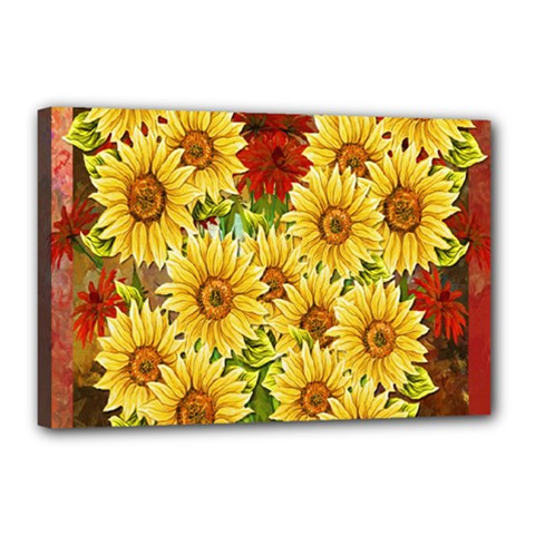 Sunflowers Flowers Abstract Canvas 18  x 12