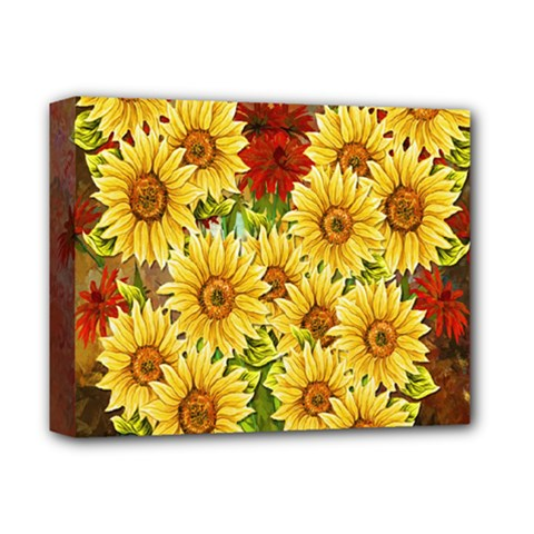 Sunflowers Flowers Abstract Deluxe Canvas 14  x 11