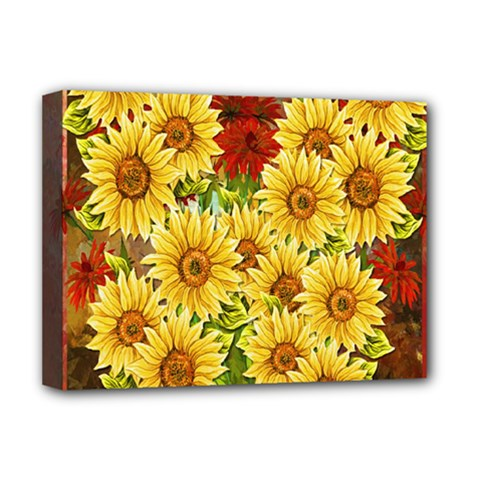 Sunflowers Flowers Abstract Deluxe Canvas 16  X 12