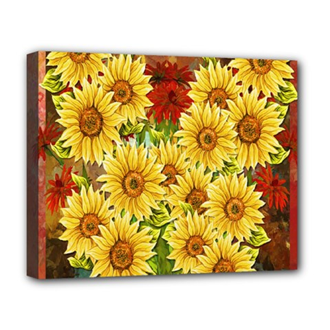 Sunflowers Flowers Abstract Deluxe Canvas 20  x 16