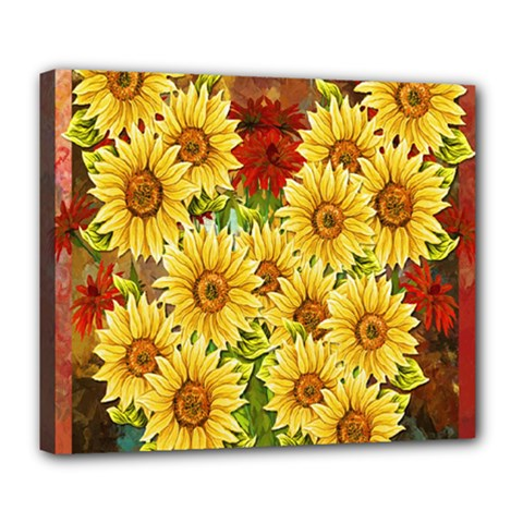 Sunflowers Flowers Abstract Deluxe Canvas 24  X 20