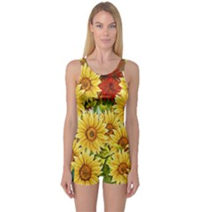 Sunflowers Flowers Abstract One Piece Boyleg Swimsuit
