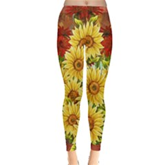 Sunflowers Flowers Abstract Leggings