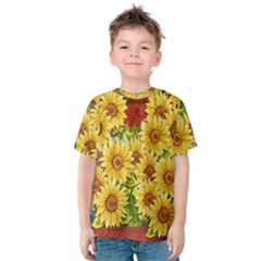 Sunflowers Flowers Abstract Kids  Cotton Tee