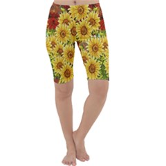 Sunflowers Flowers Abstract Cropped Leggings
