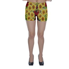 Sunflowers Flowers Abstract Skinny Shorts