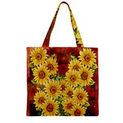 Sunflowers Flowers Abstract Zipper Grocery Tote Bag
