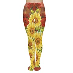 Sunflowers Flowers Abstract Women s Tights