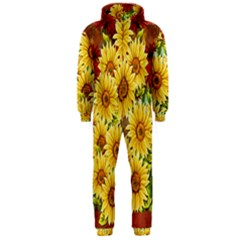 Sunflowers Flowers Abstract Hooded Jumpsuit (Men)