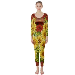 Sunflowers Flowers Abstract Long Sleeve Catsuit