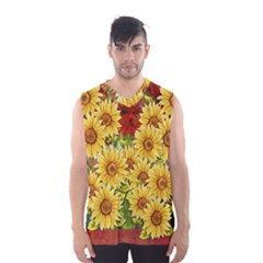 Sunflowers Flowers Abstract Men s Basketball Tank Top