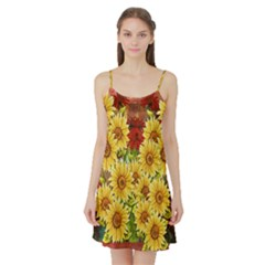 Sunflowers Flowers Abstract Satin Night Slip