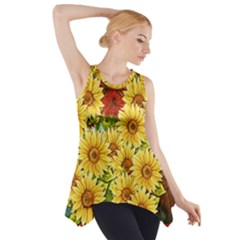 Sunflowers Flowers Abstract Side Drop Tank Tunic