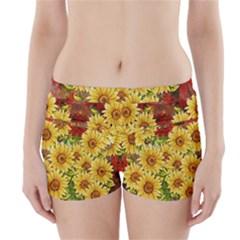 Sunflowers Flowers Abstract Boyleg Bikini Wrap Bottoms