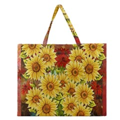 Sunflowers Flowers Abstract Zipper Large Tote Bag