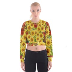 Sunflowers Flowers Abstract Women s Cropped Sweatshirt