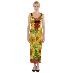 Sunflowers Flowers Abstract Fitted Maxi Dress