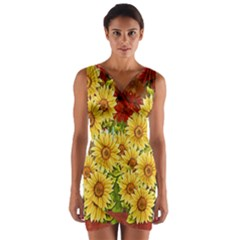 Sunflowers Flowers Abstract Wrap Front Bodycon Dress