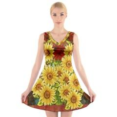 Sunflowers Flowers Abstract V Neck Sleeveless Skater Dress