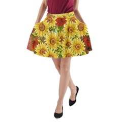 Sunflowers Flowers Abstract A Line Pocket Skirt