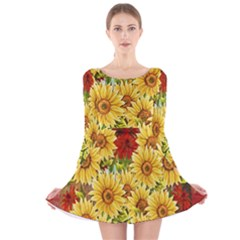 Sunflowers Flowers Abstract Long Sleeve Velvet Skater Dress