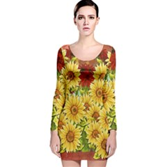 Sunflowers Flowers Abstract Long Sleeve Velvet Bodycon Dress
