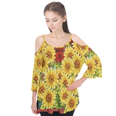 Sunflowers Flowers Abstract Flutter Tees