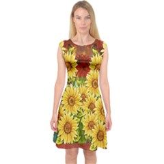 Sunflowers Flowers Abstract Capsleeve Midi Dress